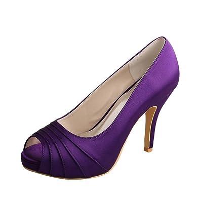 Wedopus MW1491 Womens Peep Toe Pleated High Heel Purple Wedding ...