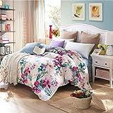 DD RFWEQ ETYU Pastoralen Stil Gestreifte Blumen/Blumen 100% Baumwolle Bettbezug - E 220 * 240 cm (87 x 94 Zoll)