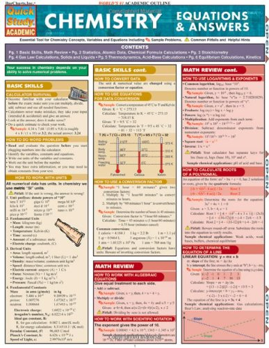 DOWNLOAD] Chemistry Equations and Answers: Reference Guide