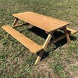 TikTakToo Massiver Picknicktisch mit klappbaren Sitzbänken 175x154x74cm