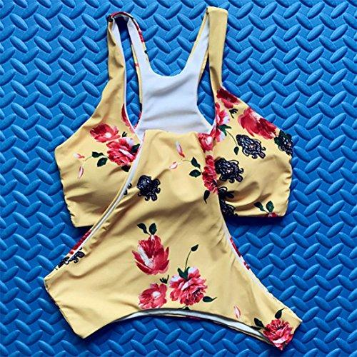 Kword Costume Da Bagno Donne Bikini Set Costumi Da Bagno Push-Up Imbottito Benda Stampa Reggiseno Costume Da Bagno Bikini Giallo