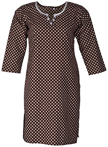 Little Home Women's Cotton A-Line Kurta (LH1033--L, Brown, Large)