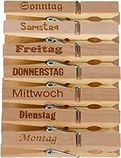 Bütic GmbH Holzklammern Wäscheklammern mit Wochentagen Deko Memo