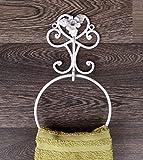 Dekorativer Handtuchhalter Handtuchring aus Metall Eisen Landhaus Shabby Chic Vintage Antikweiss Weiss gesprenkelt