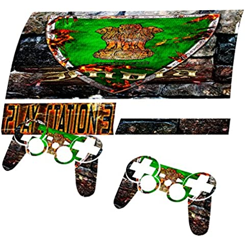 Escudo Collection 2, personalizado consola PS3 Fat Slim Full Body Wrap Faceplates Decal Vinyl piel adhesivo pegatina skin protector Blason Inde PS3 Fat
