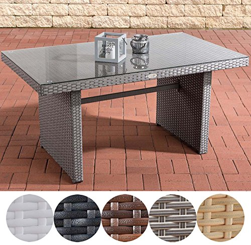 CLP Polyrattan-Gartentisch FISOLO mit einer Tischplatte aus Glas   Wetterbeständiger pflegeleichter Tisch   In verschiedenen Farben erhältlich Grau