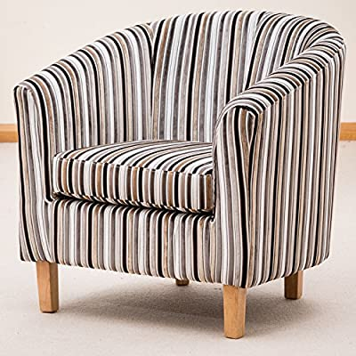 Brand New Amboise Striped Fabric Tub Chair/Armchair Seating - Grey Or Brown Available