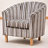 Sofa Collection Brand New Striped Tub Chair/Armchair Seating, Fabric, Grey, 70 x 76 x 73 cm