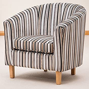 Sofa Collection Brand New Striped Tub Chair/Armchair Seating, Fabric, Grey,  70
