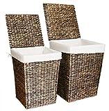 KMH®, 2er Set Wäschekörbe aus Wasserhyazinthe - Farbe: braun (#204076)