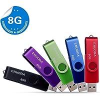 Lot de 5 clé USB 8 Go ENUODA Stockage Mémoire Flash Rotation Disque Cle USB 2.0 pour Le Stockage de Musique et des Dossiers (Couleur Mixte: Rouge Vert Noir Bleu et Violet)