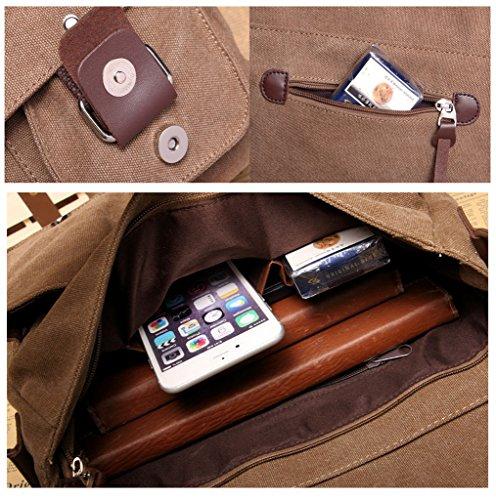 Supa Moden Leinwand Messenger Bag Umhängetasche Laptop Bag Vintage Umhängetasche aus Segeltuch Tasche Arbeiten Tasche Umhängetasche für Männer und Frauen coffee