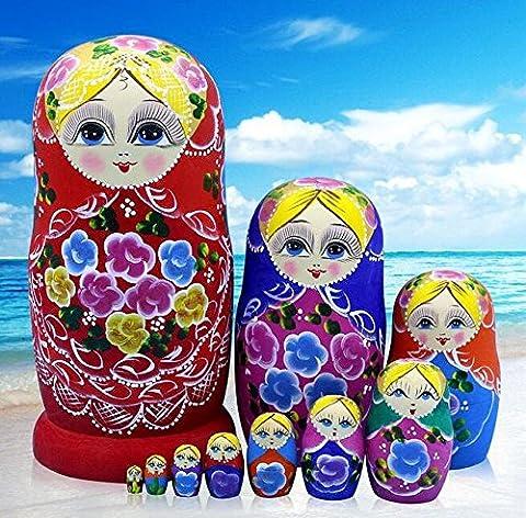 K&C main nid poupée russe Matriochka jouets en bois rose