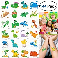 Unomor 144PCS Dinosaur Temporary Tattoos for Kids Birthday Party, Dinosaur Party Supplies Party Favors--24 Patterns