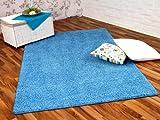 Hochflor Shaggy Teppich Prestige Babyblau in 24 Größen