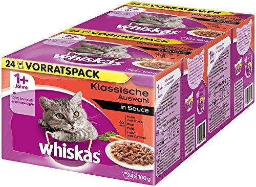 Whiskas Katzenfutter Klassische Auswahl in Sauce 1+ für erwachsene Katzen, 48 Portionsbeutel, (2 x 24 x 100 g)