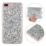 iPhone 8 Plus Hülle Silber Glitzer, Rosa Schleife 3D Bling Case Transparent TPU Silikon Back Cover Glitter Tasche Handyhülle Bling Etui Beschützer Haut Case für iPhone 7 Plus/iPhone 8 Plus