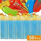 TAOtTAO Acryl Pinsel Set 5 Packungen / 50 Stück Nylon Haarbürsten für Allzweck Öl Wa