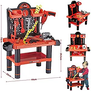 Childrens 54pc Tool Bench Playset Workshop Tools Kit Kids Toy Battery Operated Electronic Drill by Lado