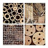 Relaxdays Insektenhotel HBT 48 x 31 x 10 cm Bienenhotel aus Naturmaterialien als Unterschlupf für Käfer, Bienen, Wespen und Schmetterlinge Insektenhaus aus Holz mit Spitzdach, natur - 4