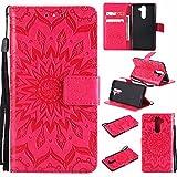 Hancda Hülle für Nokia 9, Leder Hülle Flip Case Handytasche für Nokia 9 Handy Hüllen Lederhülle Slim Dünn Silikon Case Schutzhülle Leder Schale Magnet Cover für Nokia 9,Blumen Rot