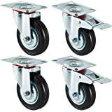 Forever Speed 4 x 100 mm transportwielen industriële zware wielen zwenkwielen en zwenkwielen met rem draagvermogen 210 kg / s