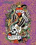 Ed Hardy New York City 19,5x 15,5Tattoo Art Print Poster Skull Serpents Eagle und Rosen gegen violett