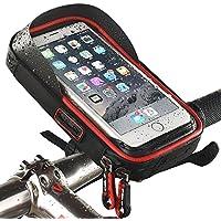 Funda soporte para bicicleta resistente al agua para móvil ciclismo marco bolsa transparente táctil giratoria 360grados para smartphone, teléfono móvil, GPS, GPS para pantalla plana/para 6pulgadas iPhone 6Plus 6S 7S Plus, Samsung Galaxy S4S6S8S6S5Sony Xperia Z3Z4Z5Plus 3ZTE Axon 7LG G5G6G4Honor 8, rojo