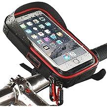 étanche Vélo téléphone support de fixation avec résistant à l'eau Vélo Sac de cadre transparent Touchable étui 360degrés rotatif pour smartphone, téléphone portable, GPS, GPS support/pour 15,2cm iPhone 6Plus 6S 7S Plus, Samsung Galaxy S4S6S8S6S5Sony Xperia Z3Z4Z5Plus 3ZTE Axon 7LG G5G6G4honneur 8, Red