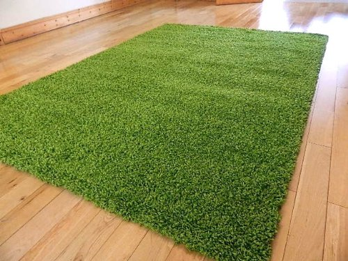 SMALL EXTRA LARGE RUG NEW MODERN SOFT THICK SHAGGY RUGS NON SHED SHAG RUNNERS (Green, 160 x 225cm)