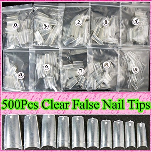 Ungfu Mall 500pcs Clear Nail Tips Artificial Nails Art by Ungfu Mall -