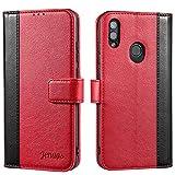 Jenuos Coque Huawei P Smart 2019, Housse étuis en Cuir Flip Phone Cover Véritable pour Huawei P Smart 2019 - Vin Rouge (PS9-JG-WR)