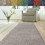 Teppich Läufer Luxury | moderne Shaggy Optik mit flauschigem Hochflor | Teppichläufer in vielen Farben für Flur, Schlafzimmer, Wohnzimmer etc. | viele Breiten und Längen (80 x 400cm, grau)