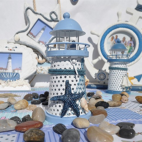 IEJSA Kerzenständer Schlafzimmer Wohnzimmer Mittelmeer Leuchtturm Eisen Kerze Kerzenständer Blau...