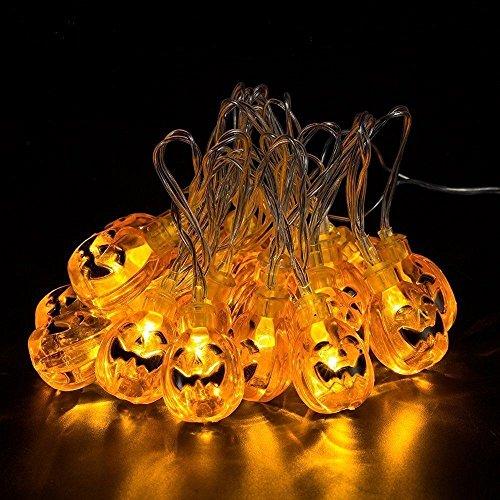 Kürbis Lichterkette 30LEDs 3.14Meter Halloween Halloween-Kürbis Lichter für Halloween Weihnachten Dekorationen-batteriebetrieben, plastik, warmweiß, M