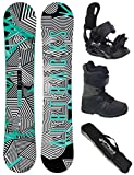 Airtracks SNOWBOARD SET - BOARD STRIPES WIDE 155 - SOFTBINDUNG STAR - SOFTBOOTS STAR BLACK 42 - SB BAG