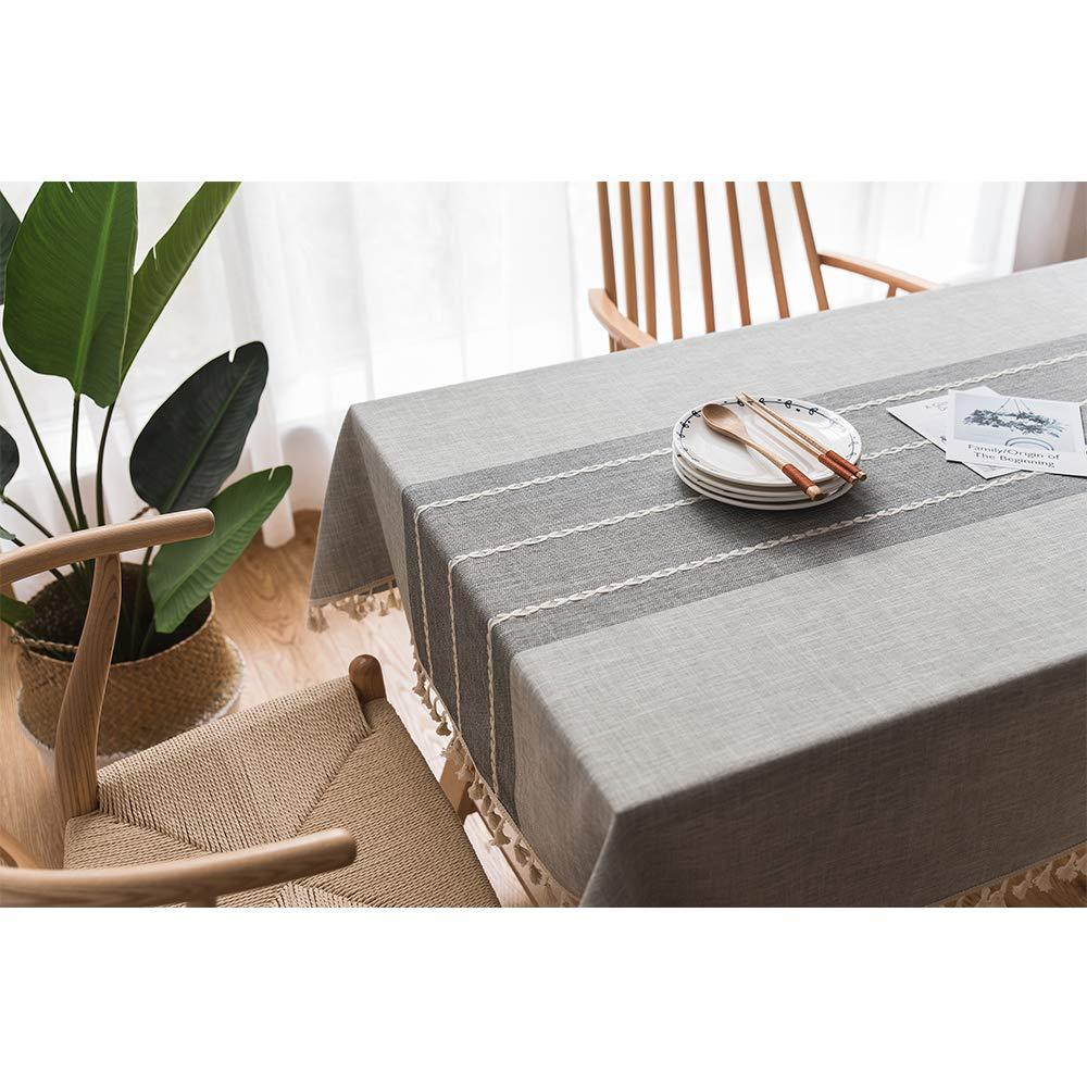 Tenrany Home Moderna Tovaglia Antimacchia in Cotone Lino Rettangolare  Tovaglie con Motivo a Frange per la Decorazione da Tavola della Cucina  (Grigio ...
