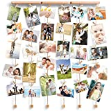 Love-KANKEI® SHMILY Hängende Bilderrahmen Collage Fotorahmen Holzbilderrahmen in Wäscheleinenoptik mit 30 kleinen Holzklammern, kreativ