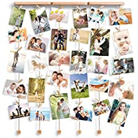 Love-KANKEI® SHMILY Bilderrahmen Collage Fotorahmen Holzbilderrahmen mit 30 kleinen Holzklammern