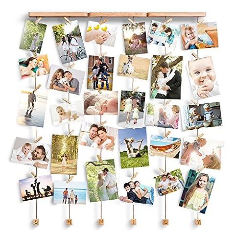Love-KANKEI® SHMILY Hängende Bilderrahmen Collage Fotorahmen Holzbilderrahmen in Wäscheleinenoptik mit 30 kleinen Holzklammern,