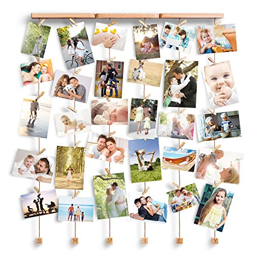 Bilderrahmen Collage Fotorahmen Holzbilderrahmen mit 30 kleinen Holzklammern ()