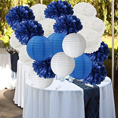 Furuix 18pcs weißes Marine-Blau 10inch Gewebe-Papier Pom Pom Papierlaternen gemischtes Paket für Marineblau-themenorientierte Partei-Hochzeits-Papiergirlande, Brautduschen-Dekor-Baby-Dusche-Dekoration Leuchten Für Mittelstücke