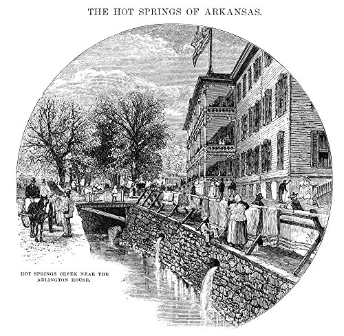 Arkansas: Hot Springs. /Nhot Springs Creek Near The Arlington Hotel. Line Engraving 1878. Kunstdruck (45,72 x 60,96 cm) - Hot Springs Arkansas Hotels