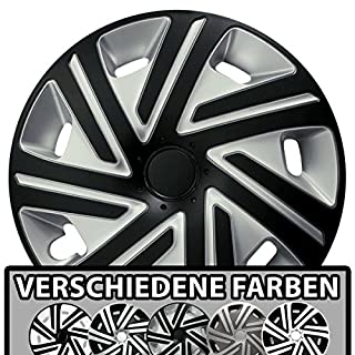 (Größe und Farbe wählbar) Radzierblenden 14 Zoll – CYRKON (Silber-Schwarz) passend für fast alle Fahrzeugtypen (universell)!