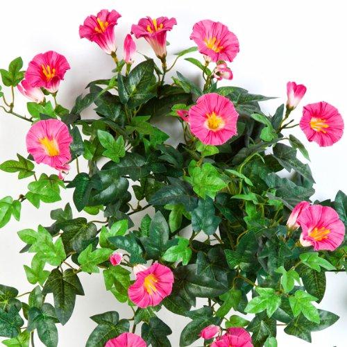 artplants – Künstlicher Petunien-Hänger, 320 Blätter, 28 Blüten, Pink-Weiss, 55 cm – Künstliche Hängepflanze/Kunstblumen Ranke