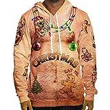 SEWORLD Weihnachten Christmas Herren Herbst Winter Männer Lustige Weihnachten 3D Drucken Mit Kapuze Langarm Bluse Tops T Shirt(Mehrfarbig2,EU-48/CN-M)