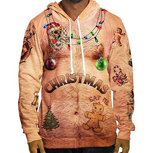 SEWORLD Weihnachten Christmas Herren Herbst Winter Männer Lustige Weihnachten 3D Drucken Mit Kapuze Langarm Bluse Tops T ()