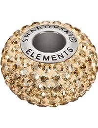 Grand Trou Perles de Verre a enfiler de Swarovski Elements 'BeCharmed Pave' 14.0mm (Crystal Golden Shadow, Acier affiné), 12 Pièces