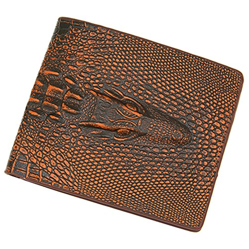 Alligator Top Genuine Leather Wallets for Men 2018 Crocodile Pattern Exquisite Craft Fashion Design Men Wallets (Brown)