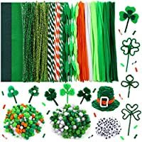 Caydo 602 Pieces St.Patrick Day Pipe Cleaners Sets with Felt Fabric , Pipe Cleaners, Pom Poms and Wiggle Eyes for St.Patrick Day Festival Decoration DIY Craft